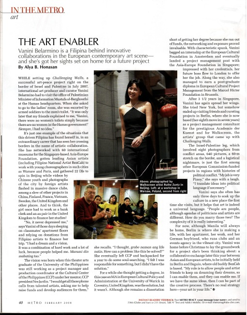 The Art Enabler by Alya Honasan, Metro Magazine, February 2008