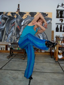 "Polish National Dance Theatre's Paulina Wychicovksa in front of a work in progress by Philippine National Artist, Benedicto ""Bencab"" Cabrera at the artist's studio in Baguio City, August 2006."