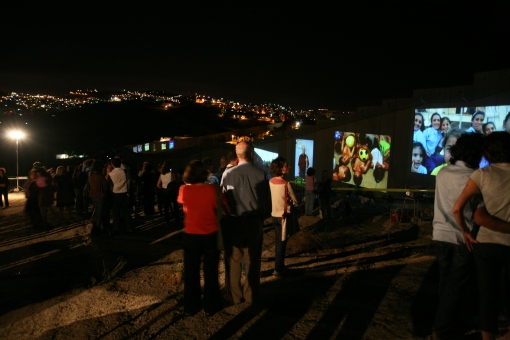 Challenging Walls photo installation along the separation wall in Israel and Palestine. Photo: Uta Freia Beer
